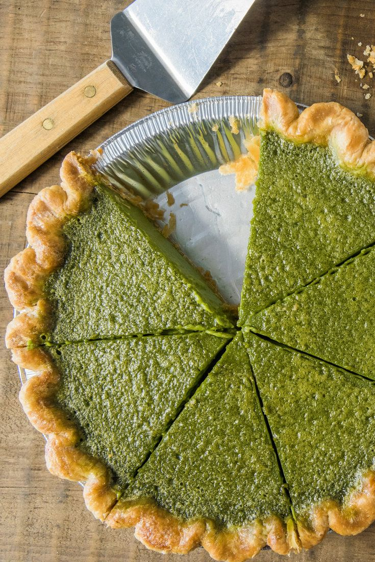 NYT Cooking: Matcha, or powdered green tea, makes this pie a verdant green. Melissa and Emily Elsen, the owners of Four & Twenty Blackbirds in Brooklyn, use a culinary grade matcha, which is less bitter and which you can find online. Serve the pie plain or with whipped cream.