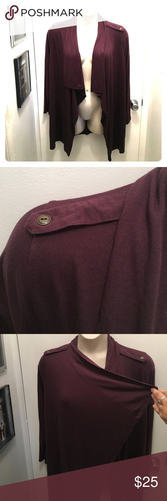 Liz Claiborne Waterfall Cardigan Excellent condition. Very minor pilling, no flaws. Dark plum or prune color. Fits size 18 very well.  Soft knit, very classy! Liz Claiborne Sweaters Cardigans