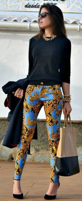 Unusual brightly-printed pants. Best fall looks 2014