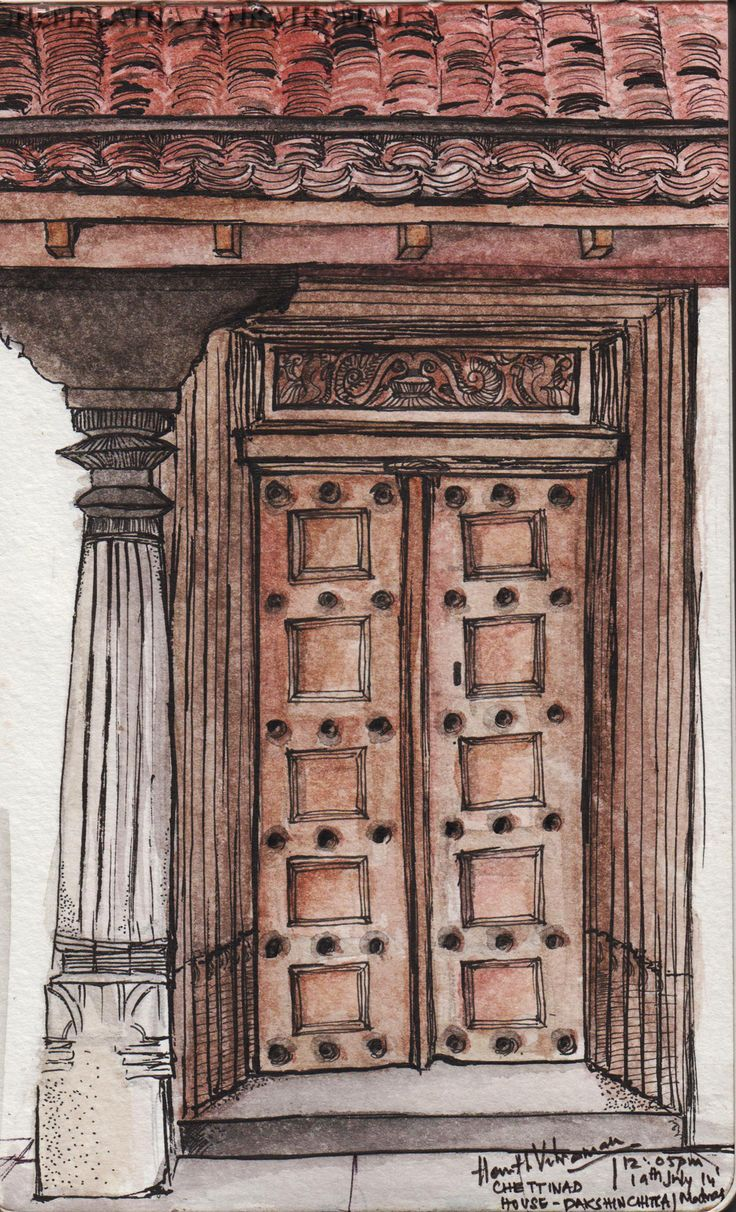 The Door | Chettinad House | Dakshin Chitra | Madras | India  Watercolours and Ink on Moleskine