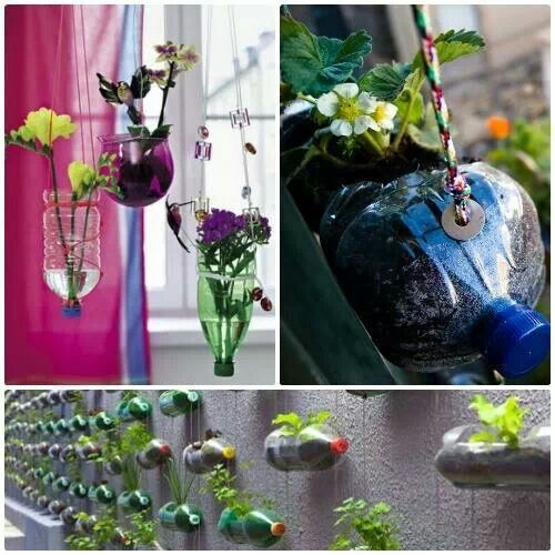 Reutiliza botellas pl sticas para hacer bellas for Decoraciones jardines