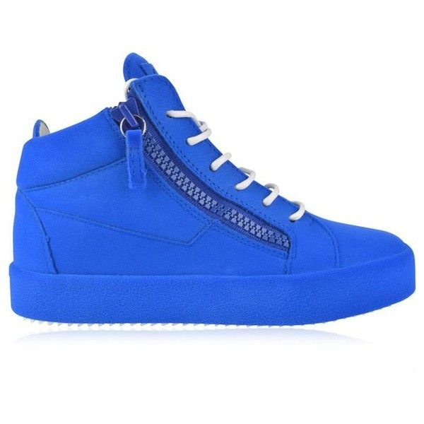 Giuseppe Zanotti Flock May High Top Trainers ($895) ❤ liked on Polyvore featuring shoes, sneakers, blue, leather high tops, blue high tops, leather lace up sneakers, high top sneakers and hi tops