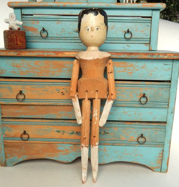 Antique Jointed Wooden Doll  German Grodnertal Style Peg Doll