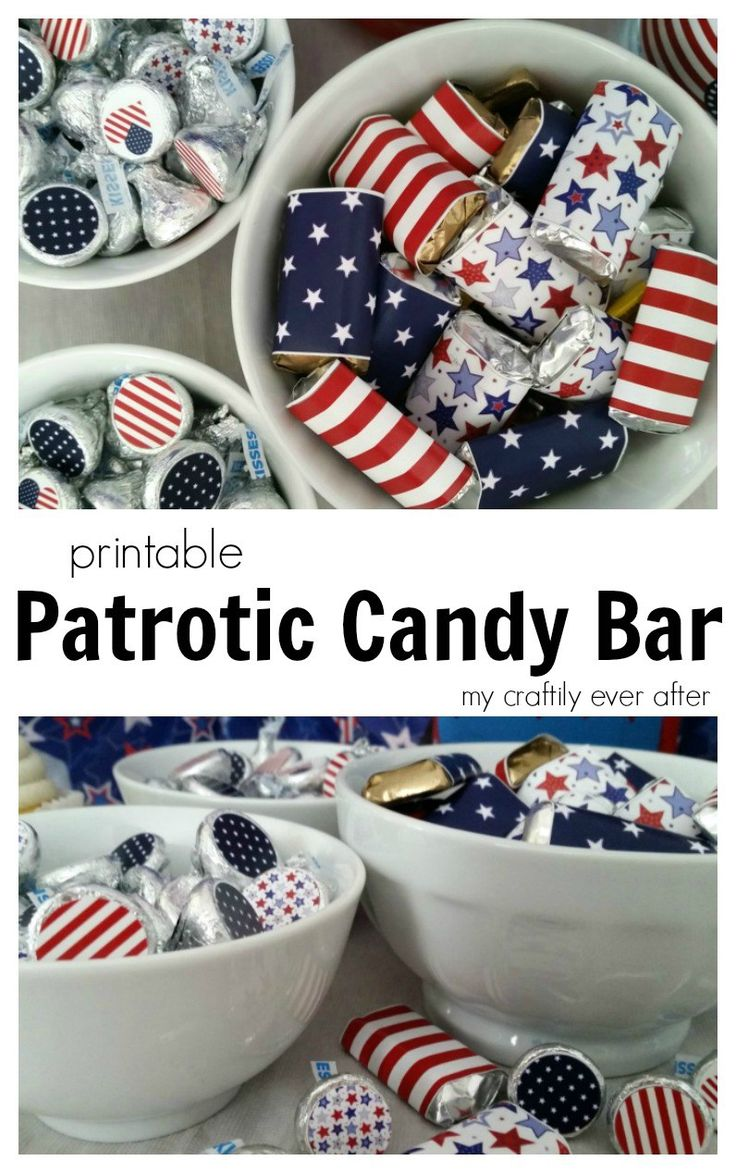 Free Printable Patriotic Mini Candy Bar and Hershey's Kisses Labels and Stickers for 4th of July.