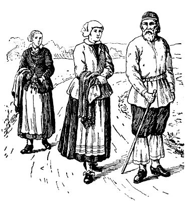 People from the Mora parish in the Dalarna province in the beginning of the 1700s, wearing national costumes (after contemporary stitch in copper) Source: Nordisk familjebok