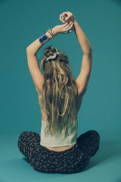 half up w/ scrunchie, stretch, long hair, boho