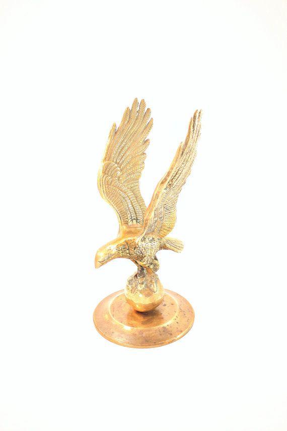 Brass Eagle, Mens Desk Accessory, American Bald Eagle, Patriotic Decor, Brass Eagle Figurine, Military Man Cave Decor, Gift for Veteran