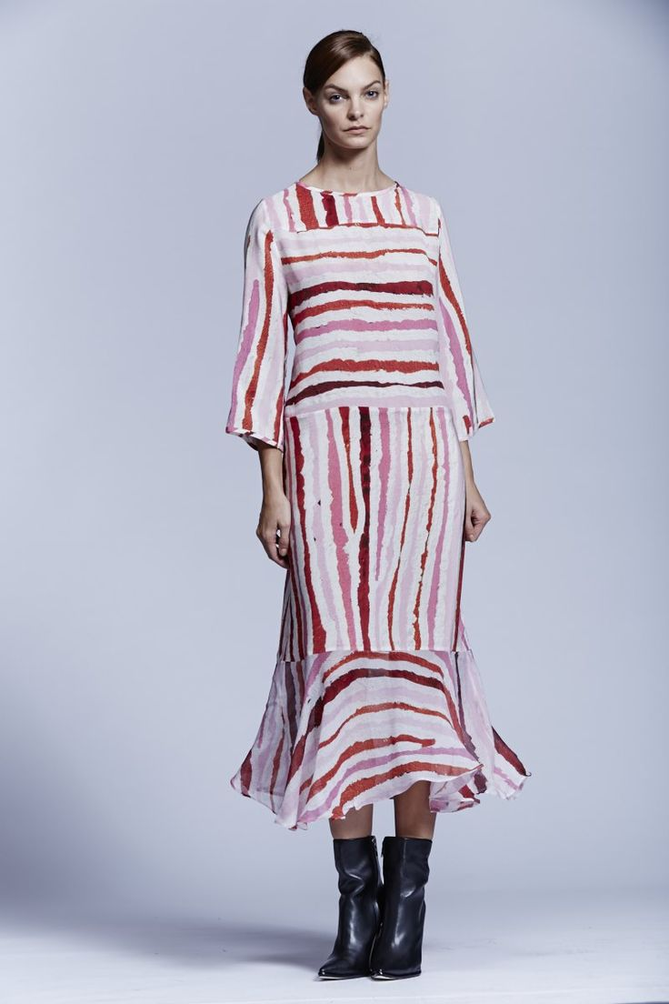 Stripe Silk Flounce Dress. Roopa Pemmaraju Spring/Summer 2014/15, Urban Culture Collection. Artist: Pauline Gallagher
