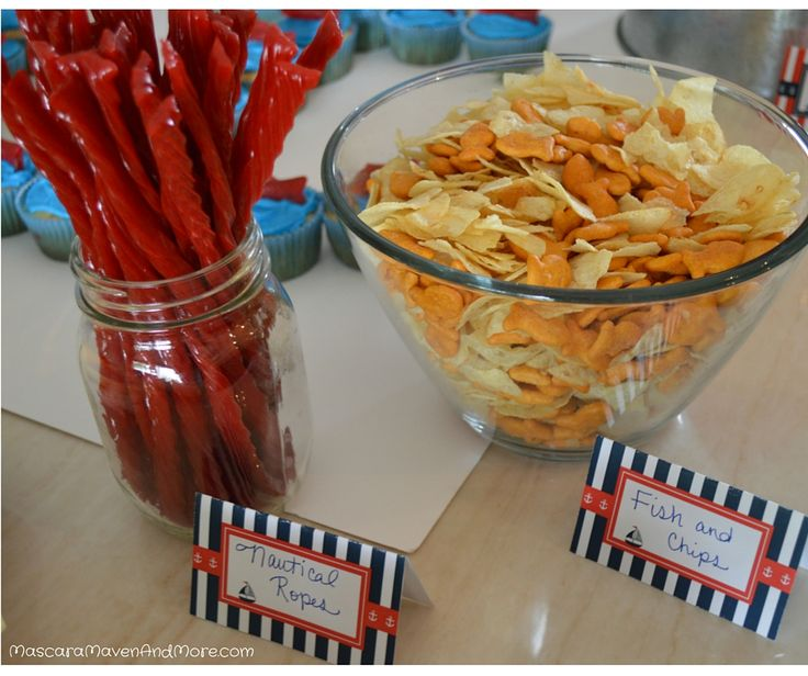 Nautical Ropes and Chips & Dip - Nautical food ideas for a nautical themed party. This is just one part of the nautical party I threw for my son. Check out the blog post for even more!
