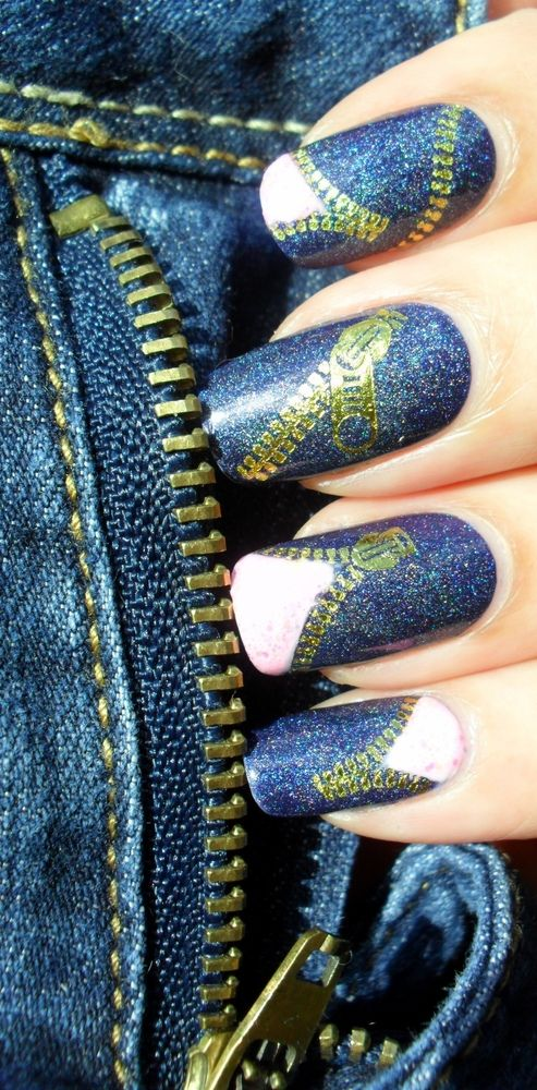 Denim zippers manicure!