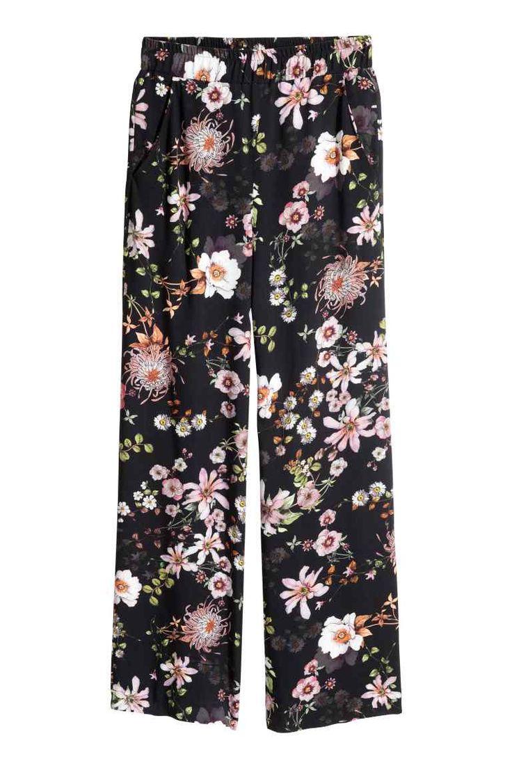 Wide trousers - Black/Floral - Ladies | H&M