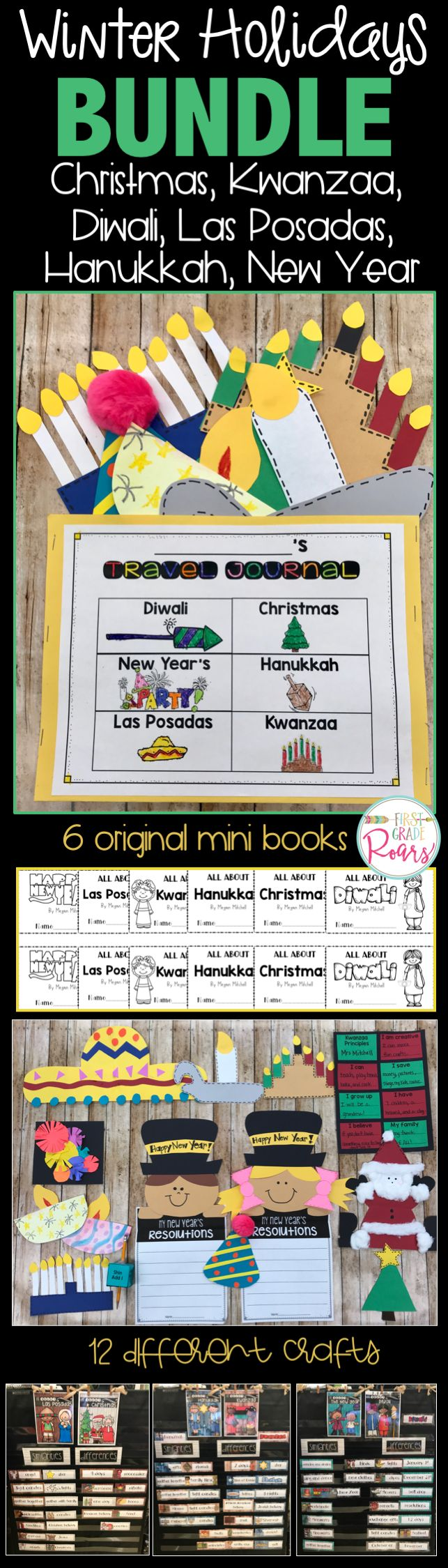 This bundle contains activities for the following holidays: Christmas, Hanukkah, Kwanzaa, Las Posadas, Diwali, & The New Year. It is part of my Guided Reading with a Purpose series and focuses on comparing similarities and differences in holidays. A passport is also included. Mini books for all 6 holiday crafts, reading strategies, word work and crafts. Perfect for kindergarten, first grade, and second grade holiday fun.