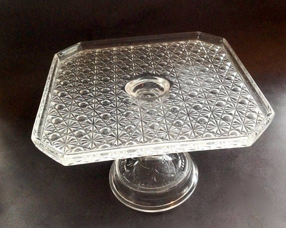 Vintage Glass Cake Stand  Square Cake Stand  EAPG Daisy and