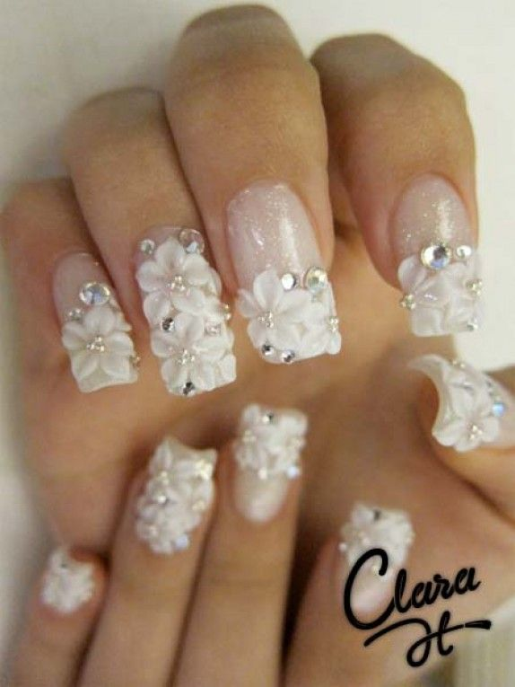 flowered nails: White Flowers, Nails Art, Wedding Day Nails, Bridal Nails, Nails Design, Wedding Nails, Nails Ideas, 3D Nails, Flowers Nails