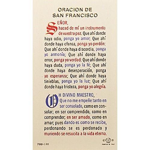 Oración a San Francisco de Asís – Spanish Prayer Card