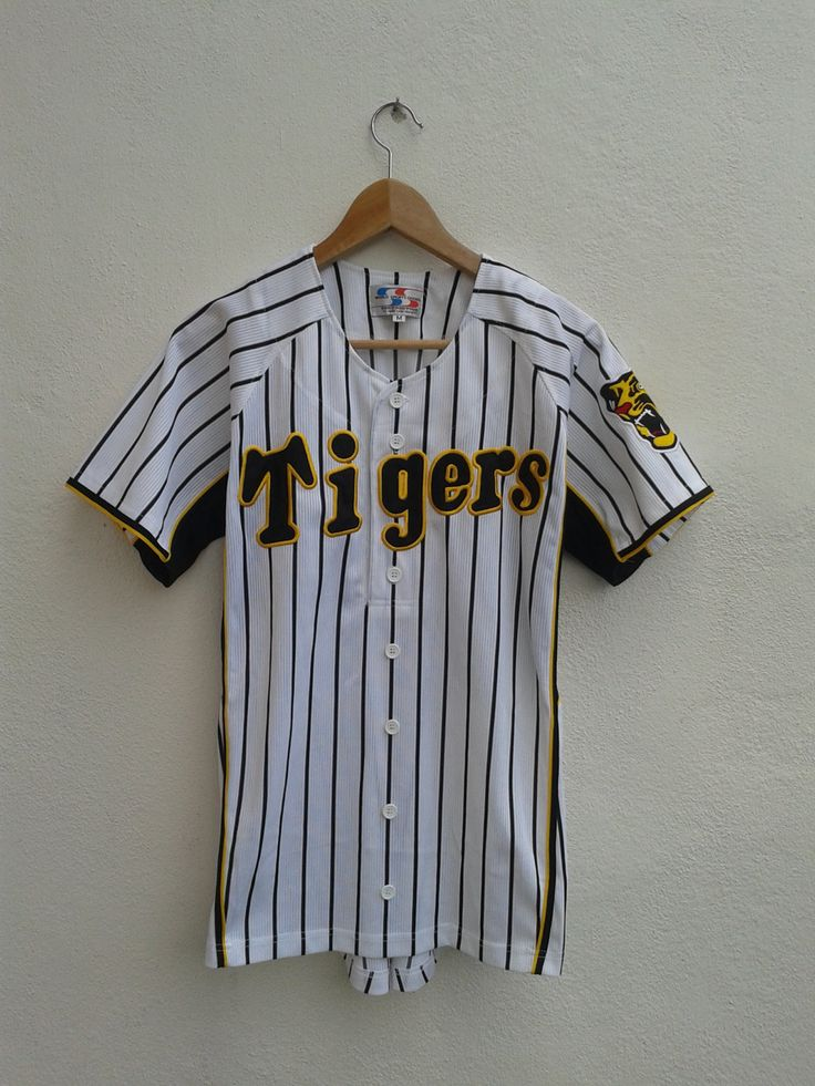 Vintage 90s Hanshin Tigers Stripes Nippon Baseball MLB Embroidered Spell Out Jersey Vtg Shirt Size M by BubaGumpBudu on Etsy