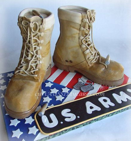 Army Boots Cake step by step Of course....I'd make them look more like Marine Corps boots ;-)