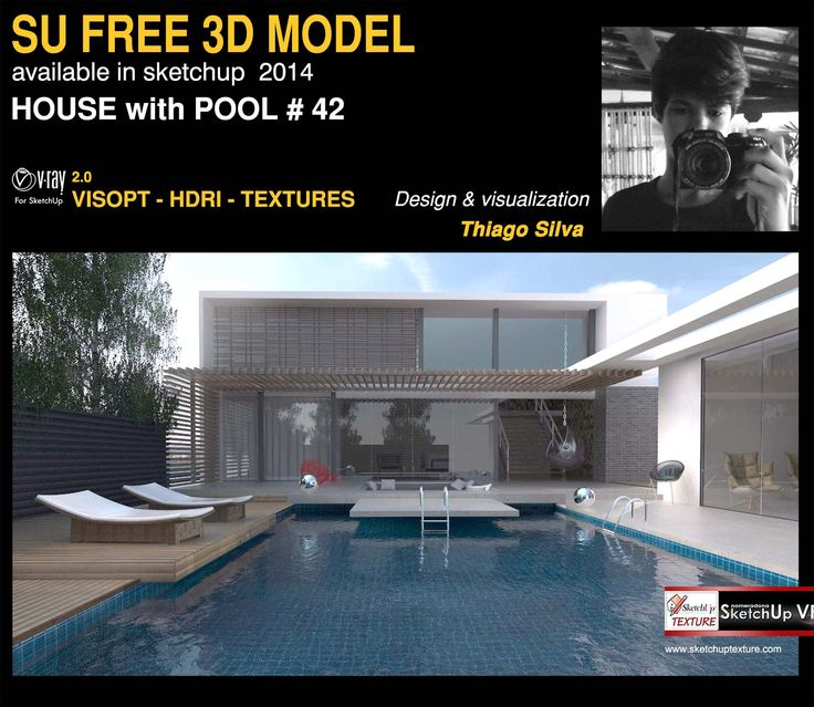 Free sketchup 3d model house with pool 42 vray exterior for 3d pool design online free