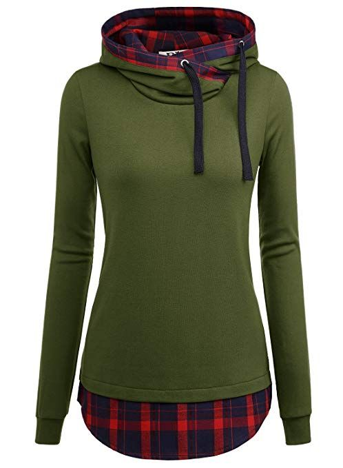 1950a9b14 DJT Women's Funnel Neck Check Contrast Pullover Hoodie large Army Green