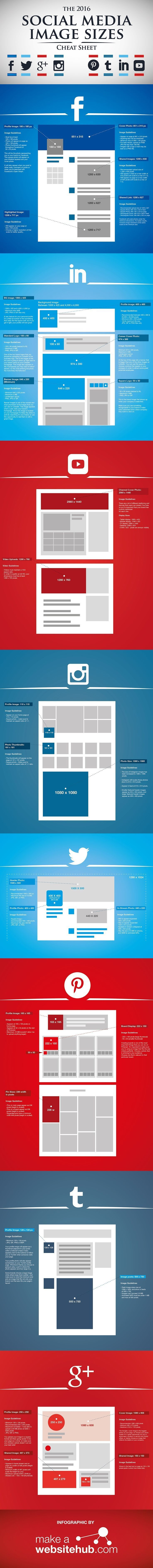 Ultimate social media cheat sheet for perfectly sized images in 2016 - infographic RefugeMarketing.com