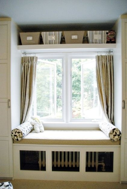 built-ins around window with window seat over radiator