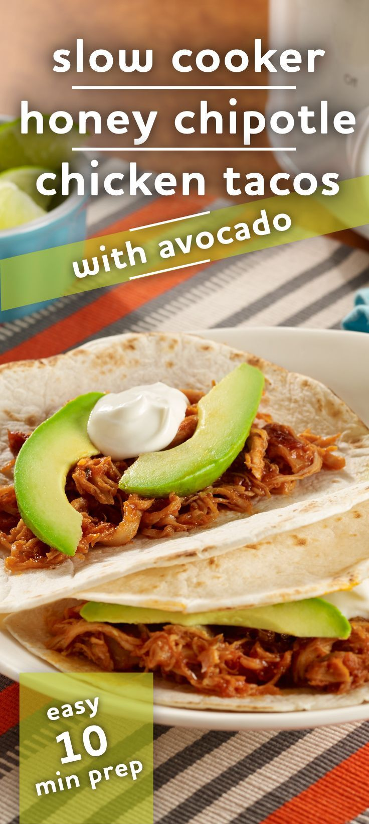 Slow Cooker Honey-Chipotle Chicken Tacos | Honey chipotle chicken ...
