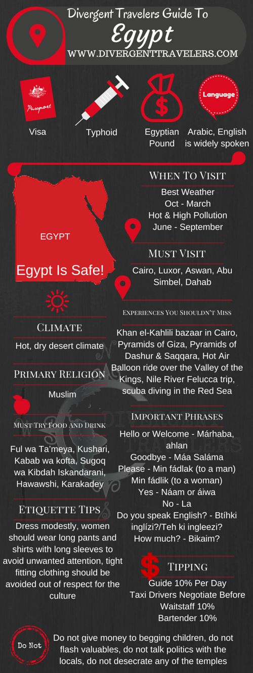Divergent Travelers Travel Guide, With Tips And Hints To Egypt. This is your ultimate travel cheat sheet to Egypt. Click to see our full Egypt Travel Guide from the Divergent Travelers Adventure Travel Blog and also read about all of the different adventures you can have in Egypt at http://www.divergenttravelers.com/destinations/egypt-2/
