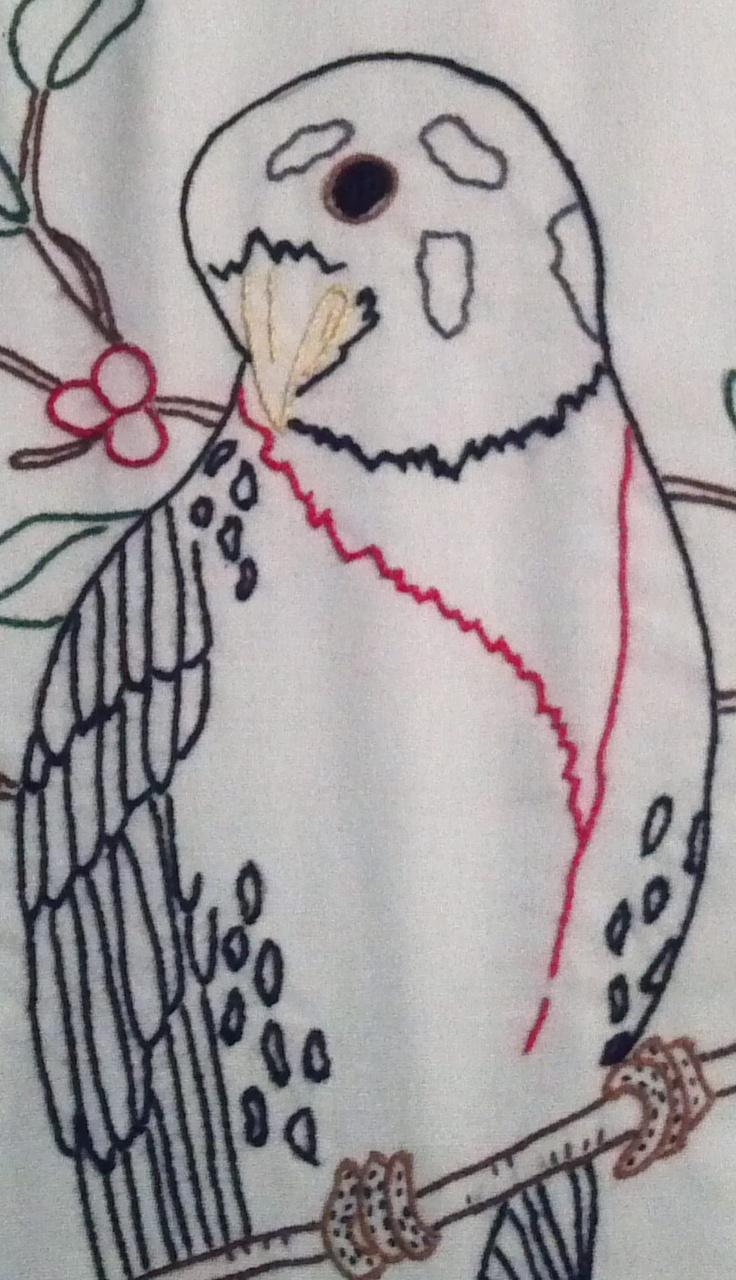 Detailed bird, quilt block by Alice Shaddix.