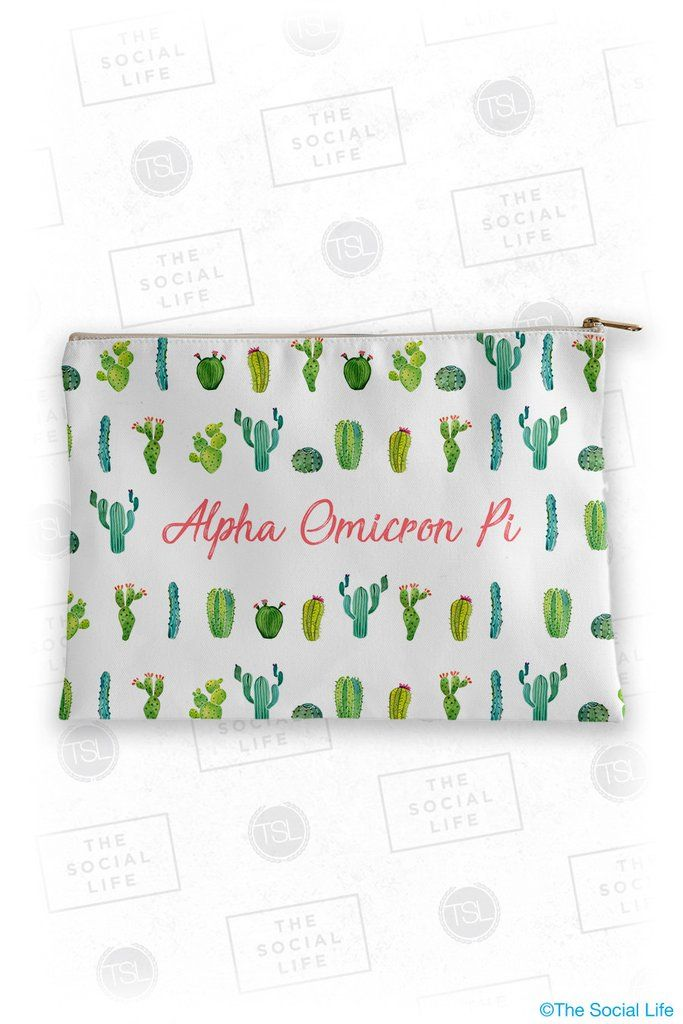 Alpha Omicron Pi Cacti Cosmetic Bag, obsessed with this. #alphao #alphaomicronpi #sorority