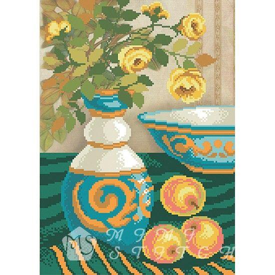 Канва с рисунком для бисера Ваза с яблоками Т-0365 #beads #beadwork #embroidery #mimistitch