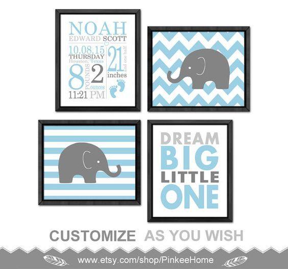 new baby boy decor elephant baby boy birth by PinkeeHome on Etsy