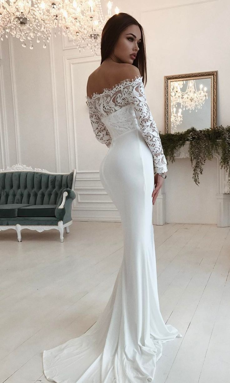 Mermaid Off the Shoulder Long Sleeves Floor-Length White Elastic Satin Wedding Dress with Lace