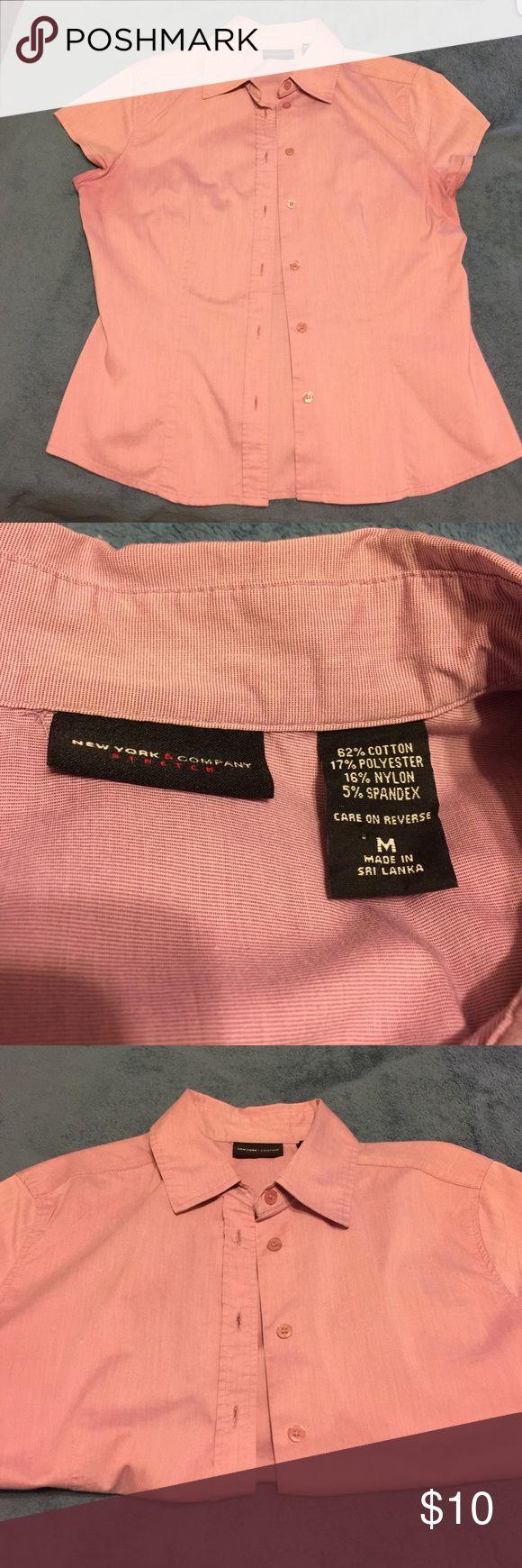 New York & company short sleeve dress shirt New York & Company short sleeve stretch dress shirt. Size Medium. New York & Company Tops Button Down Shirts