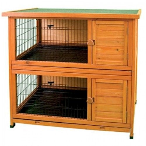 Double decker rabbit hutch plans woodworking projects for Wood hutch plans