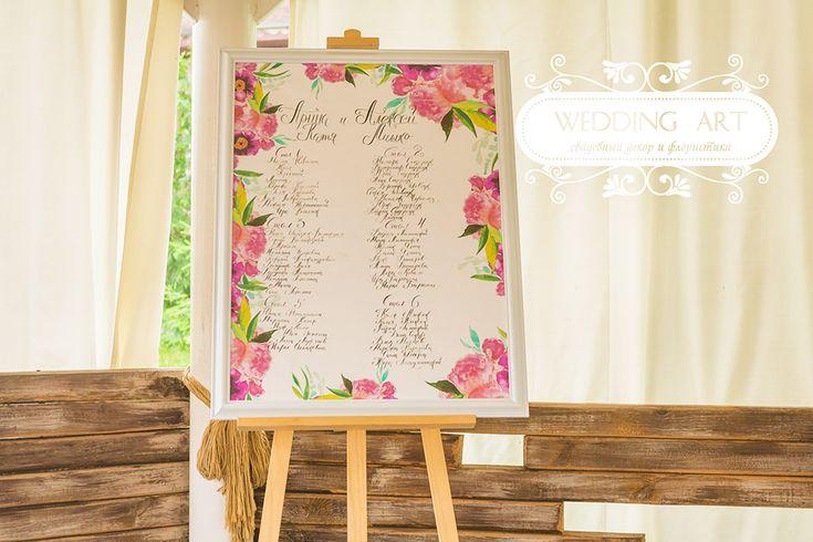 Рассадка гостей - Свадебный декор и флористика Wedart.com.ua