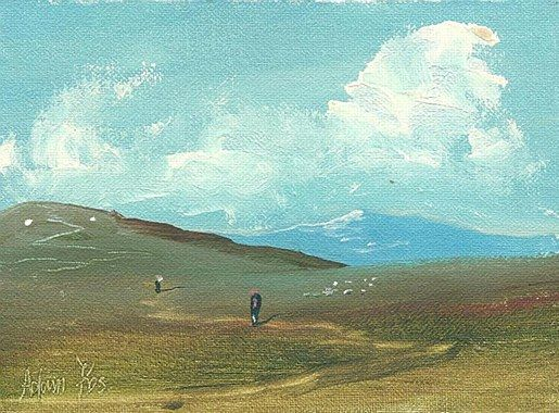 Adam Kos- Working in the Fields at Noon  #art #painting #Westmeath #path #road #cottage #Ireland #DukeStreetGallery