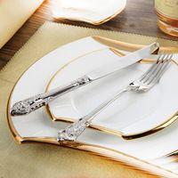 Juego de Cubiertos de Acero inoxidable Vajilla de Lujo 24 Unids Restaurante Retro Vintage Comedor Hermosa Vajilla Cuchillos Tenedores