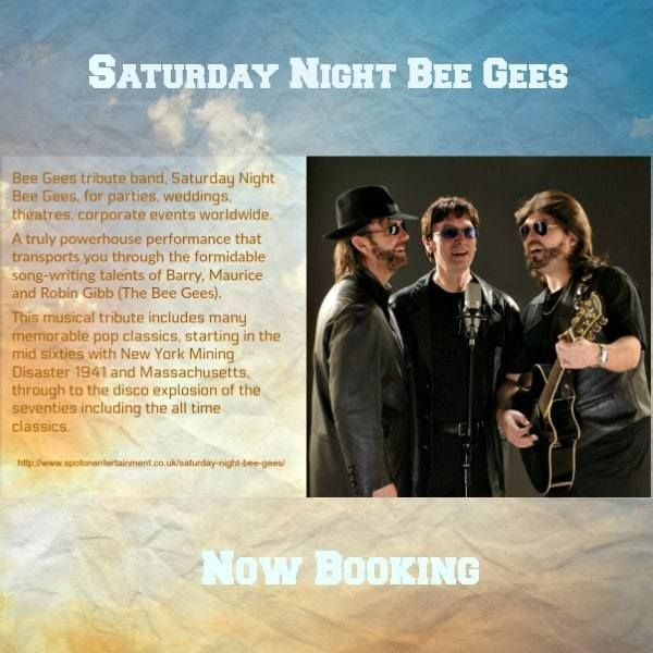 Bee Gees tribute band, Saturday Night Bee Gees, for parties, weddings, theatres, corporate events worldwide.  A truly powerhouse performance that transports you through the formidable song-writing talents of Barry, Maurice and Robin Gibb (The Bee Gees).