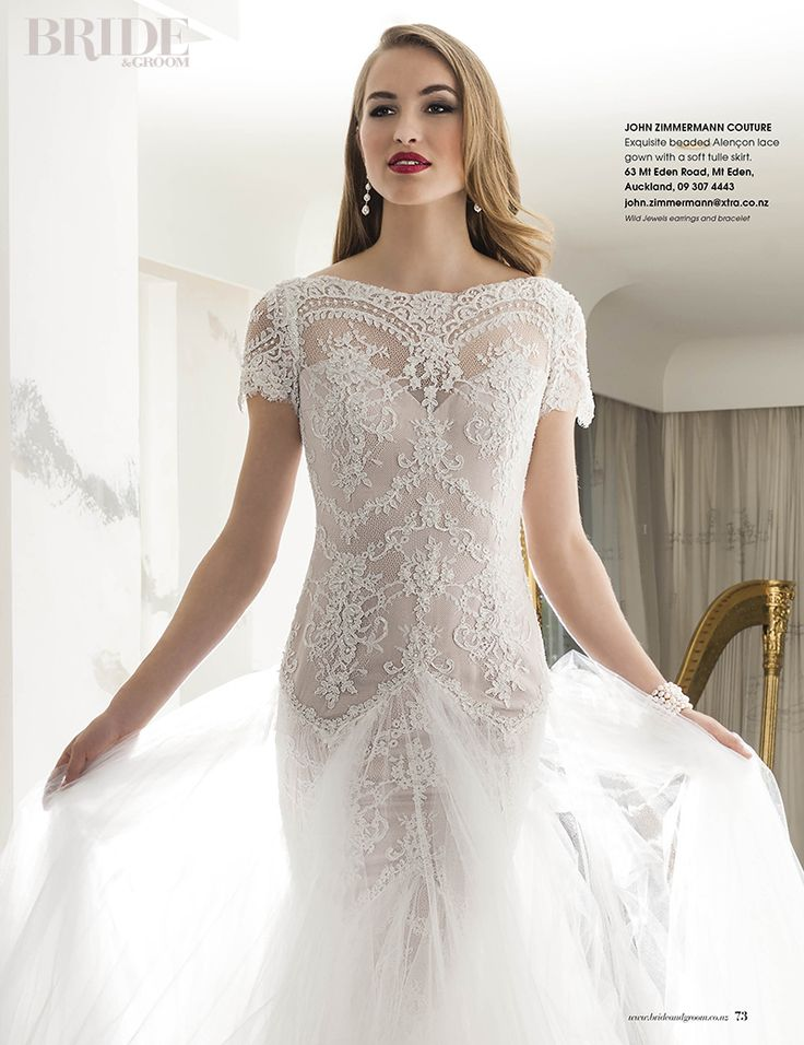Wild Jewels as seen in Bride & Groom Magazine. Model wearing Pearl Lace Earrings and multi white pearl Fire Bracelets.