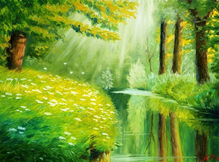 🍃 Утро в лесу 🍃   (Грунтованный оргалит, масло. Размеры 30*40) Тихое пробуждение леса...
