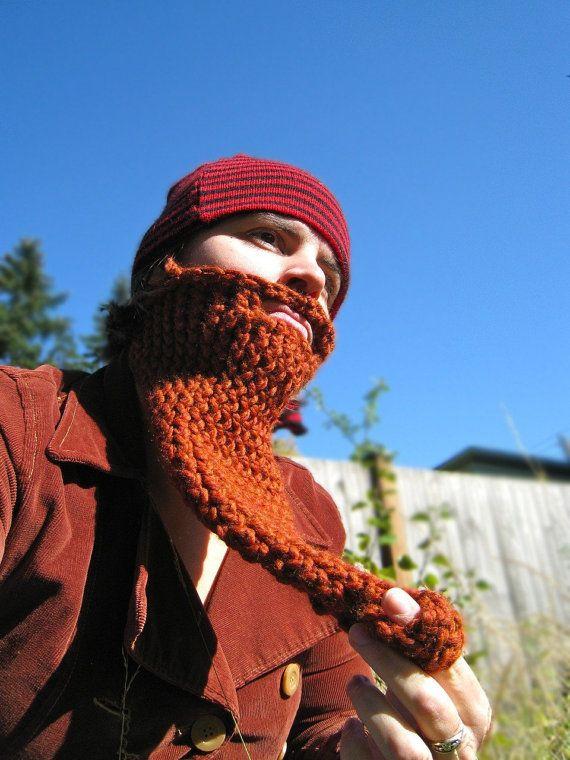 gnome knit beard - face neck warmer, costume, disguise, pirate, lumberjack, wizard, dickie
