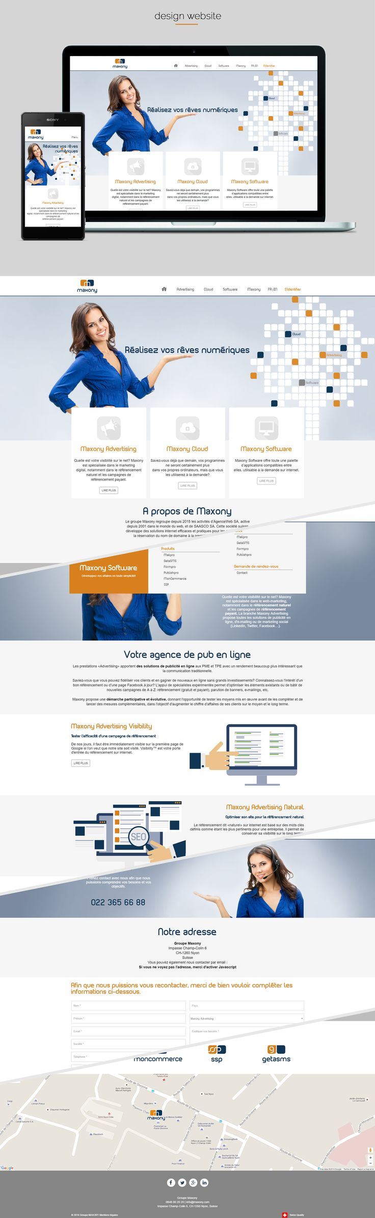 Webdesign for Maxony group made by Dexign.