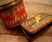 Vintage Advertising Cans, Advertising Tins, Good Year Tires, Hills Brothers Coffee, Gas and Oil, Two Cans