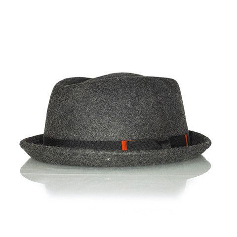 Currently, pork pie hats represent the coolest headwear trend. Your wardrobe will be incomplete without this awesome dark grey piece! Wear it flipped up, style