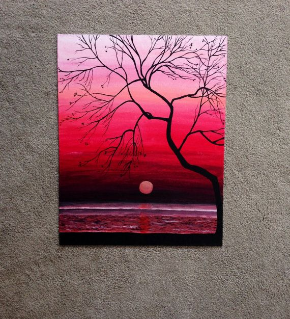 Original Sunset Painting, 20x16 Wall Art, Mother's Day Sale, Hand painted Sunset Silhouette, Ocean Painting