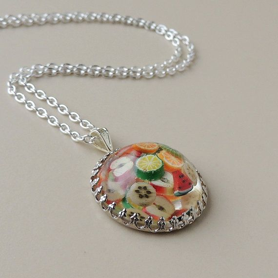 Fruit Salad Pendant Resin Jewelry Fruit Jewelry by JustKJewellery, £10.00