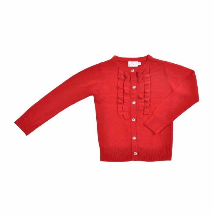 """Sweater tipo """"Cardigan"""" para niña, con textura similar al cashmere, en color rojo. Detalle de vuelitos alrededor de los botones hechos en la misma tela."""