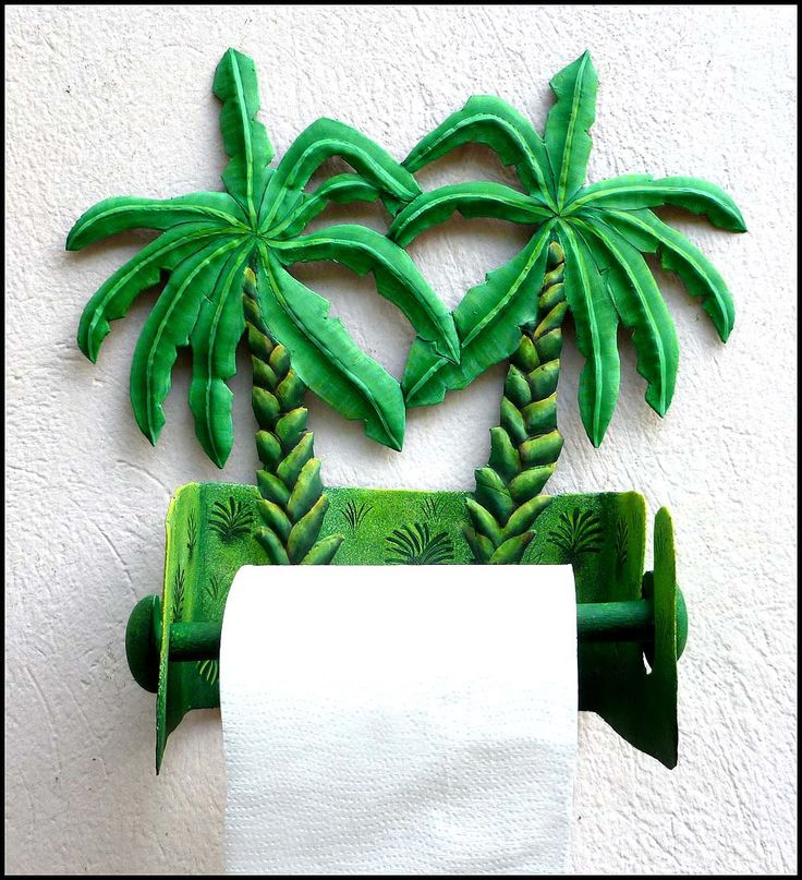Toilet Paper Holder - Hand Painted Metal Banana Tree - Tropical Bathroom Decor - Toilet Tissue Holder - Tropical Decor, Wall Decor - 990 -TP by TropicAccents on Etsy