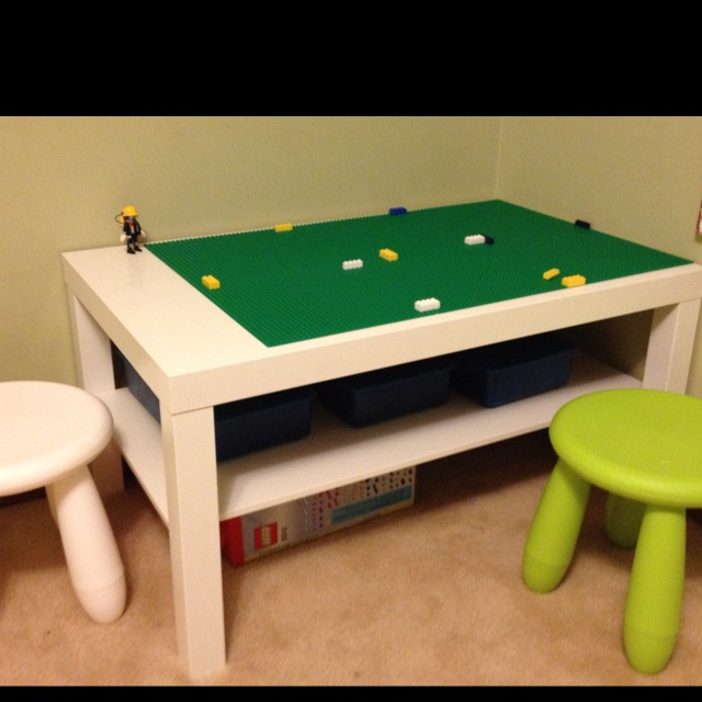 Homemade Lego table $50 Ikea table and chairs and holding bins, Lego bottoms from Walmart! Saved $120!