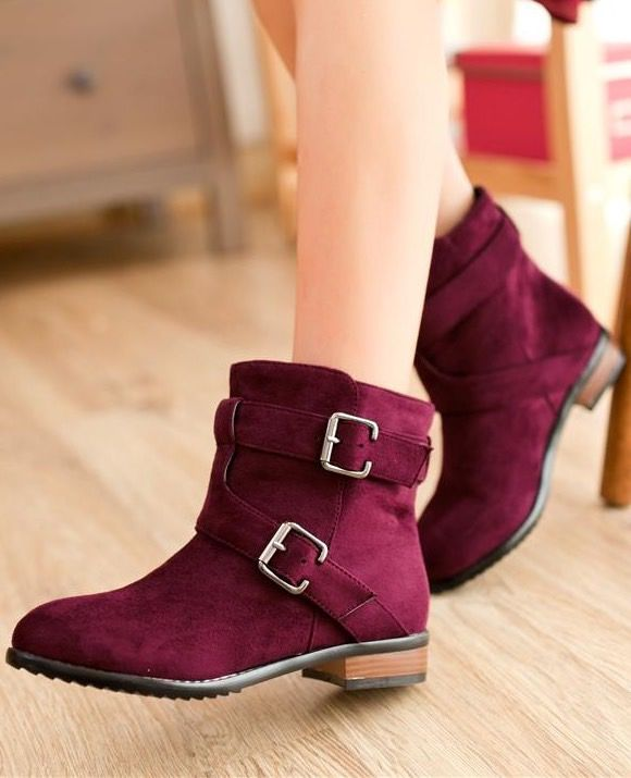 Fall Fashion Buckle Design Ankle Boots